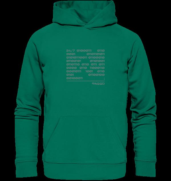 """24/7 binary"" Organic Hoodie"