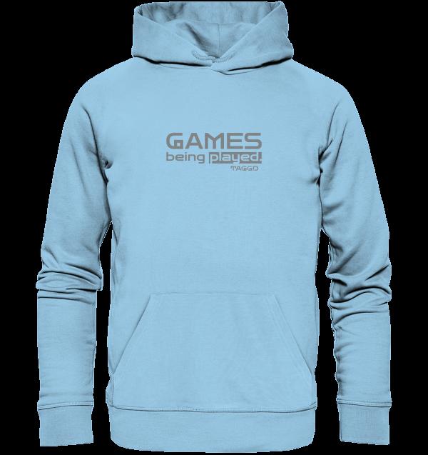 """""""games being played."""" Organic Hoodie"""