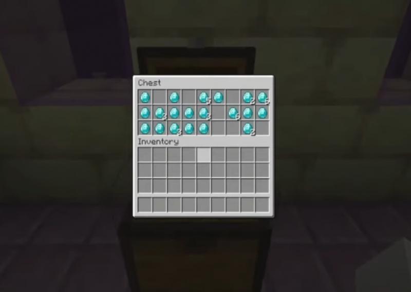 Viele Diamanten in einer Truhe in der End City in Minecraft